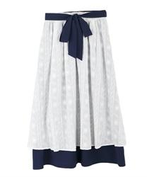 【2点5000円対象 /WEB限定】バイカラーコットンレーススカート(白-M)