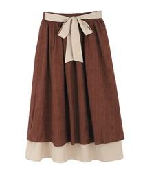 【2点5000円対象 /WEB限定】バイカラーコットンレーススカート(オレンジ-M)