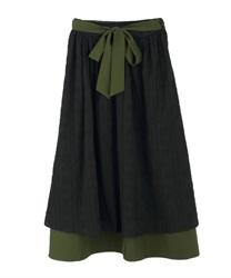 バイカラーコットンレーススカート(黒-M)