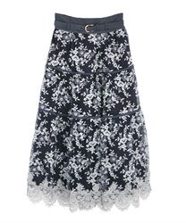 ラメ刺繍ティアードスカート(紺-M)