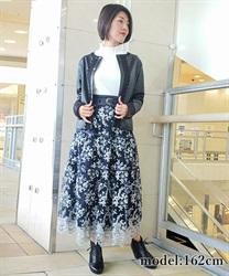 □【GWフェア/10%OFF対象】ラメ刺繍ティアードスカート