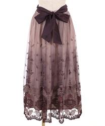 【追加予約】グラデチュール刺繍スカート(ワイン-M)