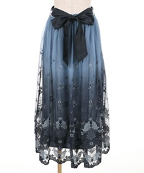 【追加予約】グラデチュール刺繍スカート(紺-M)