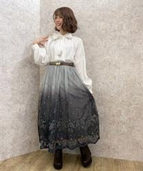 【追加予約】グラデチュール刺繍スカート(Dグリーン-M)