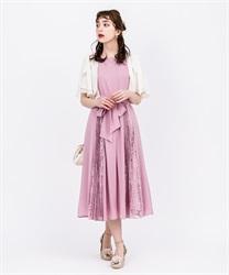 サイドプリーツロングドレス