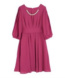 タックデザインドレス(濃ピンク-M)