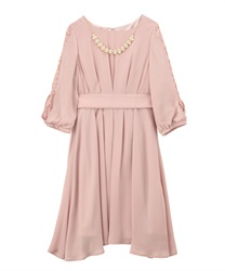 タックデザインドレス(淡ピンク-M)