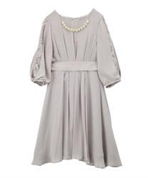 タックデザインドレス(グレー-M)