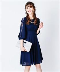 タックデザインドレス(紺-M)