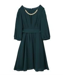 タックデザインドレス(ブルーグリーン-M)