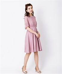 袖付きレースフレアドレス(淡ピンク-M)