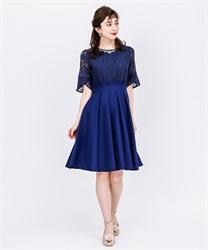 袖付きレースフレアドレス(紺-M)