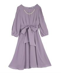 タックデザインドレス(ラベンダー-M)