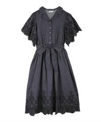 【web価格/15H限定】繊細刺繍シャツワンピース(インディゴ-M)