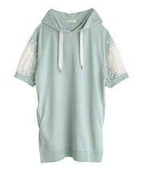刺繍×レースパーカーチュニ(グリーン-M)