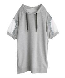 刺繍×レースパーカーチュニ(杢グレー-M)