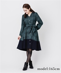 【OUTLET】【Web価格】チェックバイカラーシャツワンピース