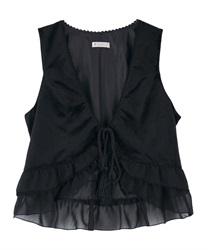【OUTLET】裾フリルタッセルベスト【Web価格】(黒-M)