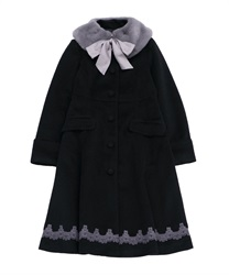 【OUTLET】ファーティペット付コート(黒-M)