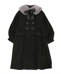 ファーティペット付ロングコート(黒-M)
