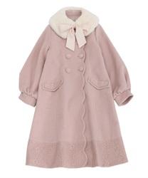 ファーティペット付ロングコート(ピンク-M)