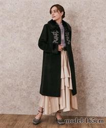 【予約】ファー襟付刺繍ロングコート