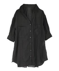 【web価格/15H限定】シアースキッパーロングシャツ(黒-M)
