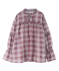 【OUTLET】チェックスモッキングブラウス【web限定】(淡ピンク-M)