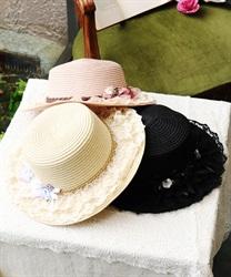 巻きバラレースカンカン帽