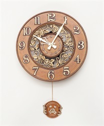 ローズガーデン壁掛け時計(茶-M)