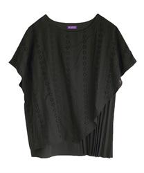 【2点10%OFF対象】綿刺繍レース重ねプリーツプルオーバー(黒-M)