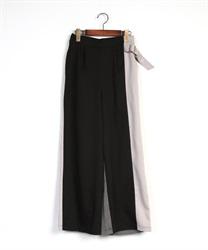 【均一価格/WEB限定】配色デザインパンツ(黒-M)