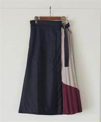 【OUTLET】【Web価格】合皮×配色プリーツ切替スカート