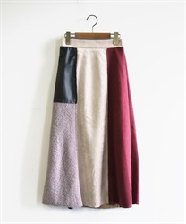 【OUTLET】異素材ブロッキングスカート