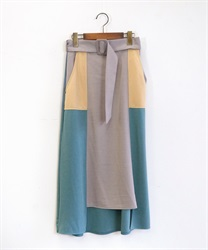 ベルト付ブロッキングスカート(サックス-M)