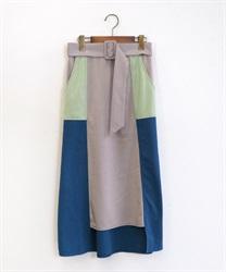ベルト付ブロッキングスカート(ブルー-M)