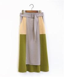 ベルト付ブロッキングスカート(グリーン-M)