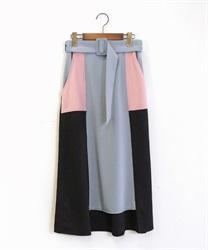 ベルト付ブロッキングスカート(黒-M)