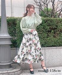 【均一価格/WEB限定】オーガンジーシフォン花柄スカート