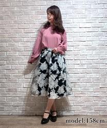 オーガンジー大判花柄スカート