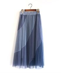 バイアス配色プリーツスカート(ブルー-M)