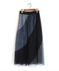バイアス配色プリーツスカート(黒-M)