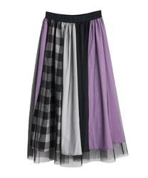 チェック配色切替スカート(パープル-M)