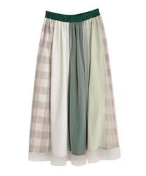 チェック配色切替スカート(グリーン-M)