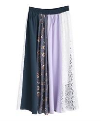レース×プリント配色スカート(ブルー-M)