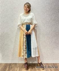 レース×プリント配色スカート