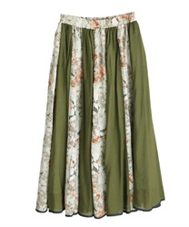 花刺繍異素材フレアスカート(カーキ-M)