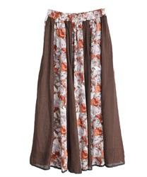 花刺繍異素材フレアスカート(茶-M)