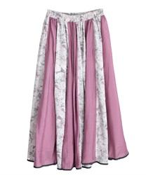 花刺繍異素材フレアスカート(ピンク-M)