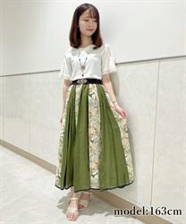 花刺繍異素材フレアスカート